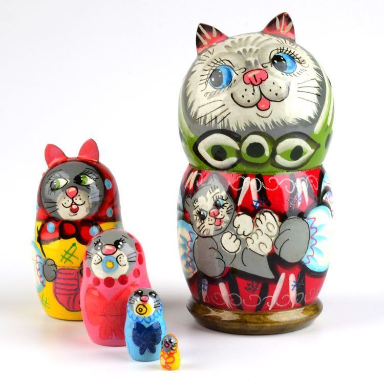 Mother Cat Nesting Doll