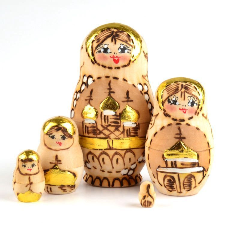Golden Burned Wood Matryoshka