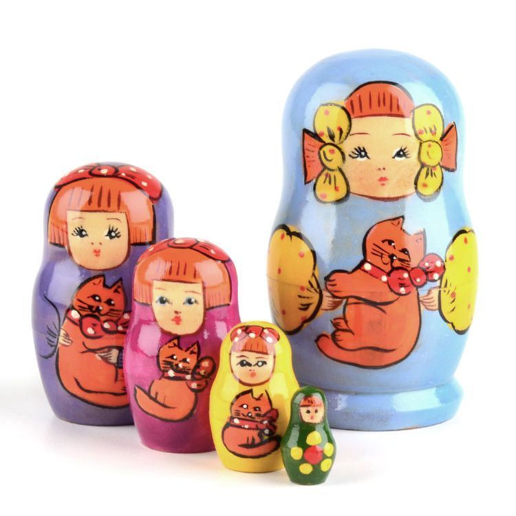 Girl with Cat - Blue Matryoshka