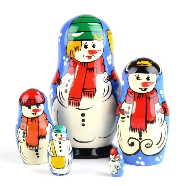 Five Snowman Matryoshka Doll