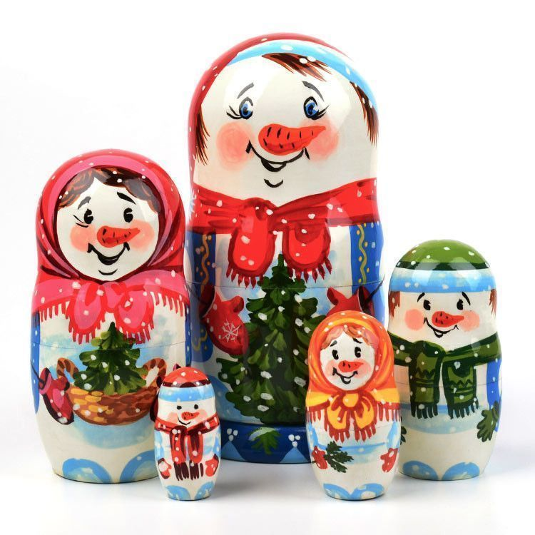 Super-Cute Snowman Family Matryoshka Doll