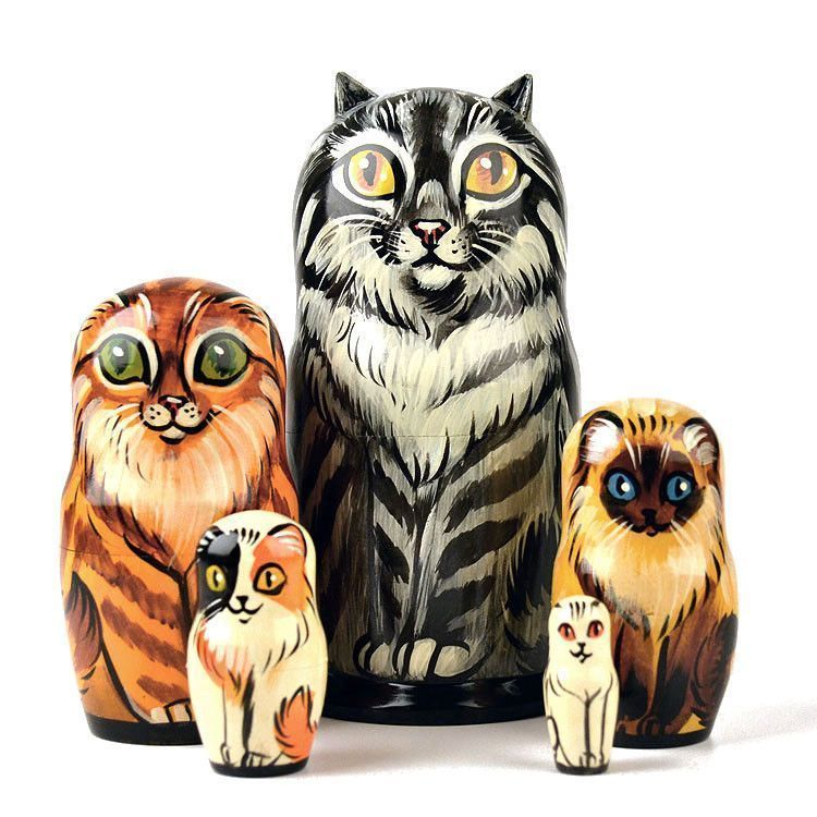 Five Different Cats Stacking Dolls
