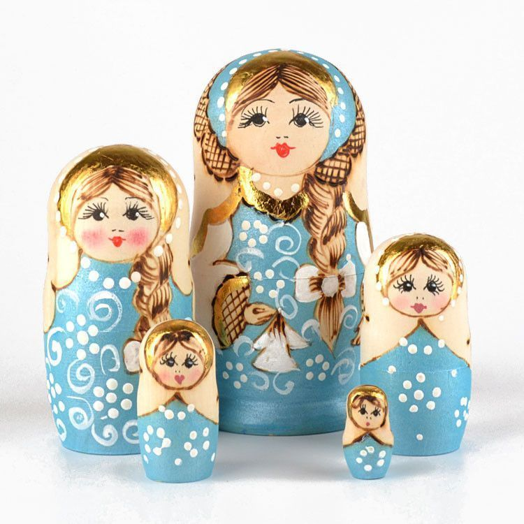 Light Blue Wood Burnt Nested Doll