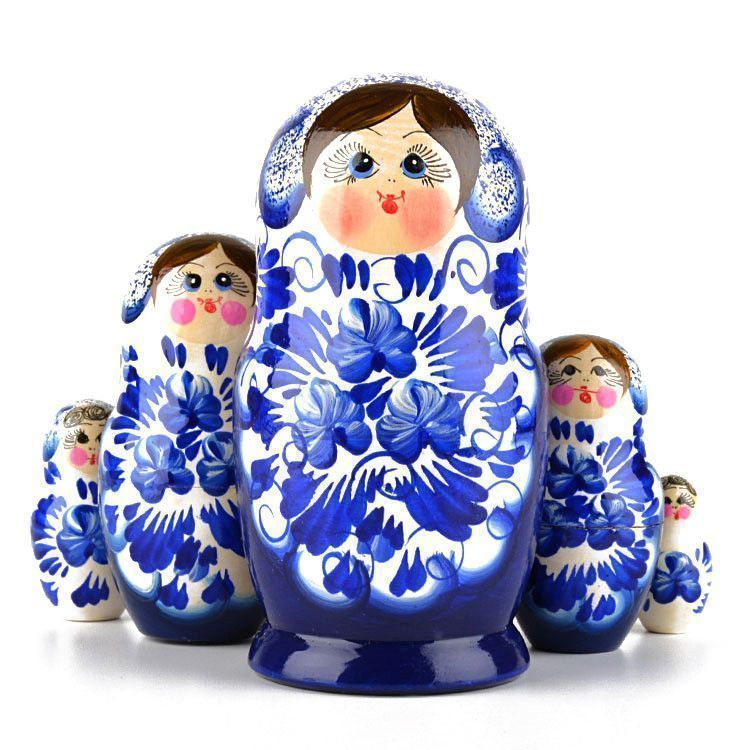 Blue & White Flowers Matryoshka
