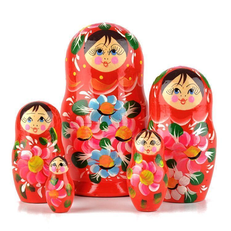 Red Matryoshka Doll 5 pcs
