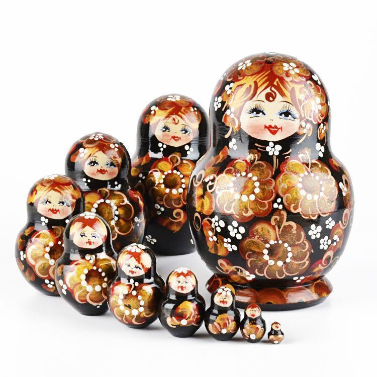 Beauteous Black 10pc Nesting Doll