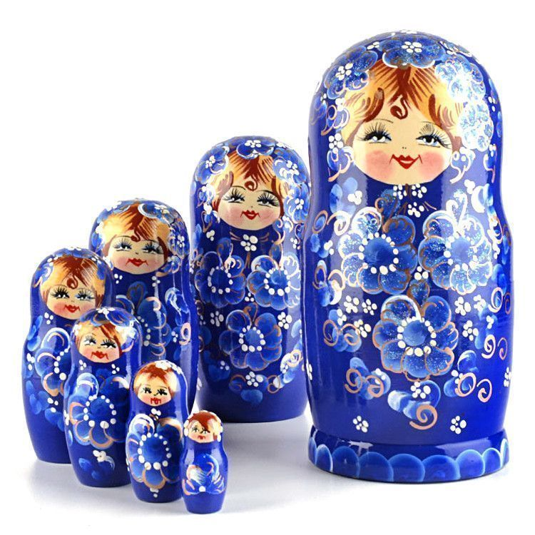 Beautiful Blue Flowers 7pc Matryoshka