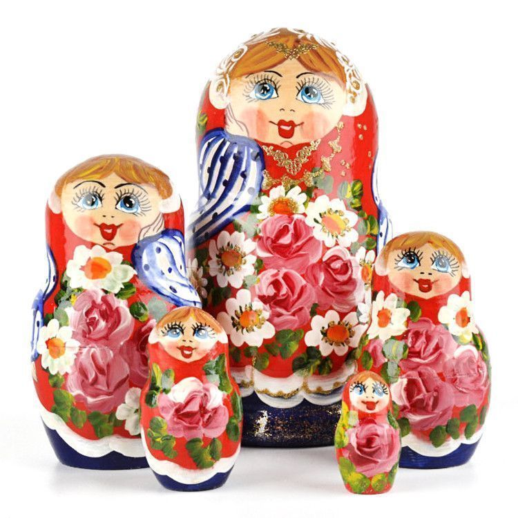 Colorful Floral Wooden Nesting Doll