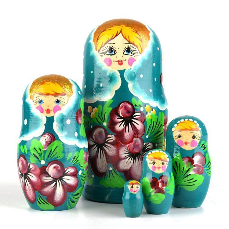 Teal Color Babushka Doll