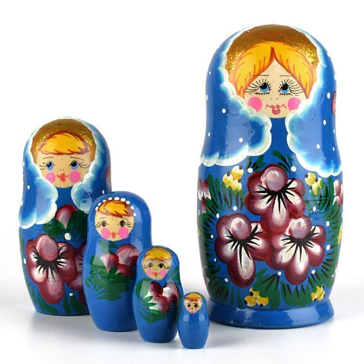 Floral Nesting Doll Blue