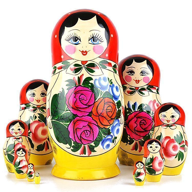 Ten Piece Red Roses Matryoshka