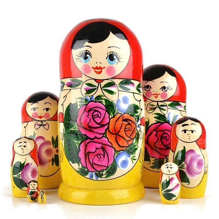 Purple Red Roses Nesting Doll