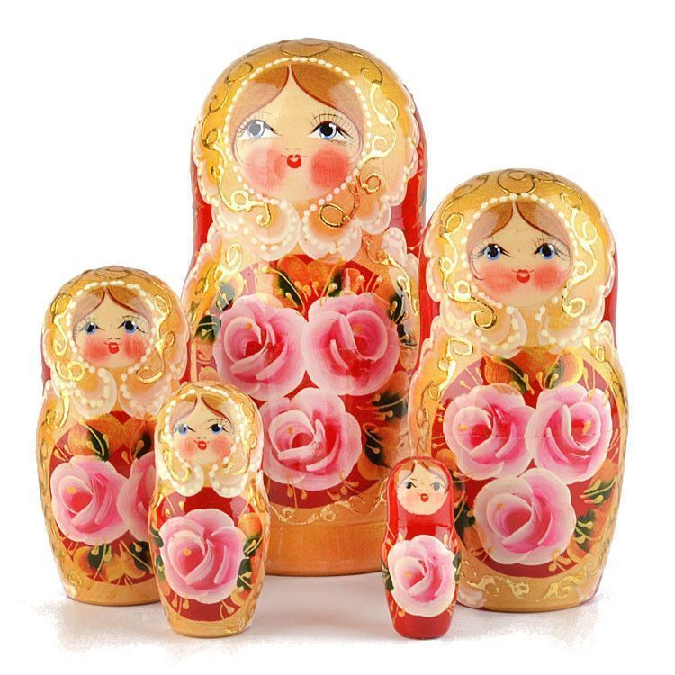Rose Beauty 5pc Nesting Doll - Red
