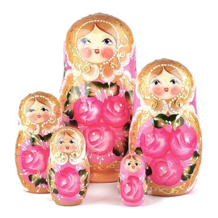 Rose Beauty 5pc Pink Nested Doll