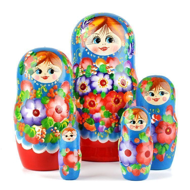 Floral Blossom Beauty - Blue & Red Matryoshka