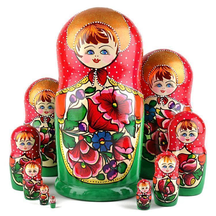10pc Colorful Maiden Babushka