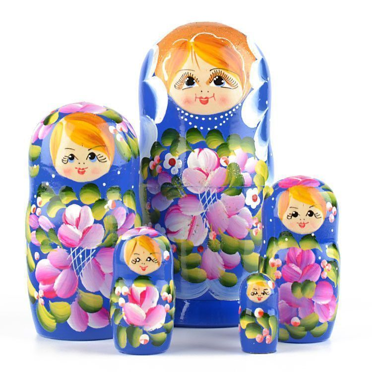 Blue Floral Beauty Matryoshka 5pc