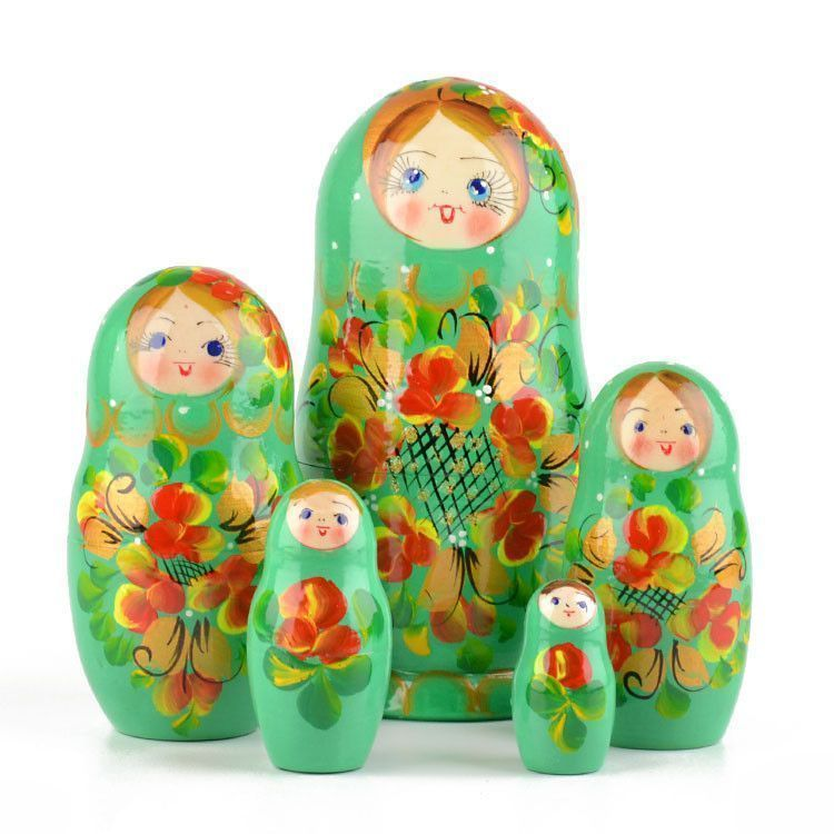 Green Floral Stacking Doll