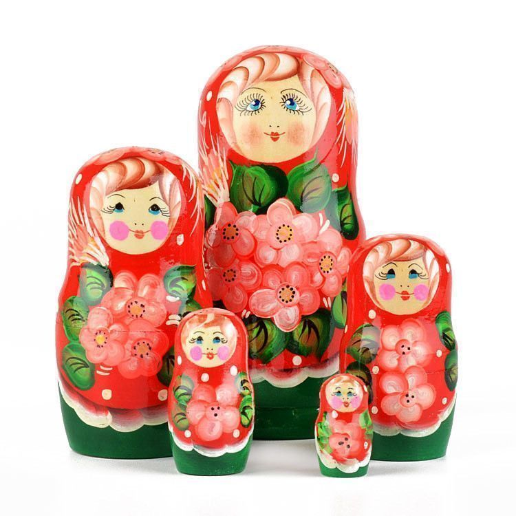 Pretty Floral 5 pc Stacking Doll