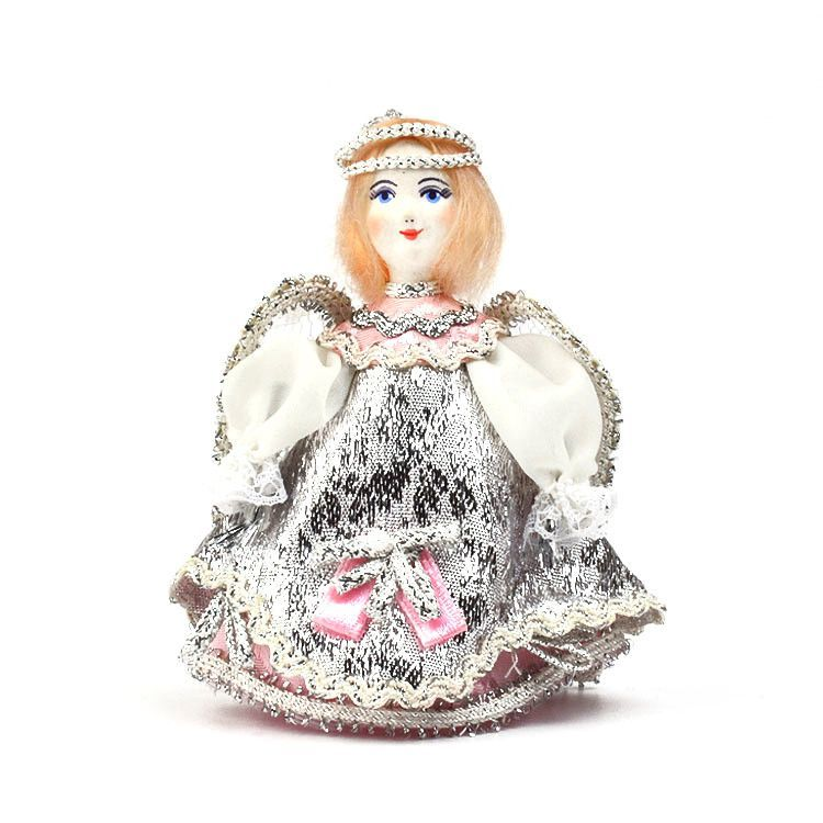 Pink & Silver Angel Russian Doll Ornament