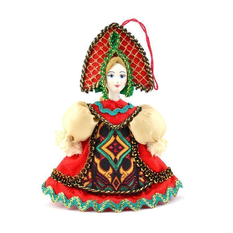 Russian Girl In Red Dress Ornament
