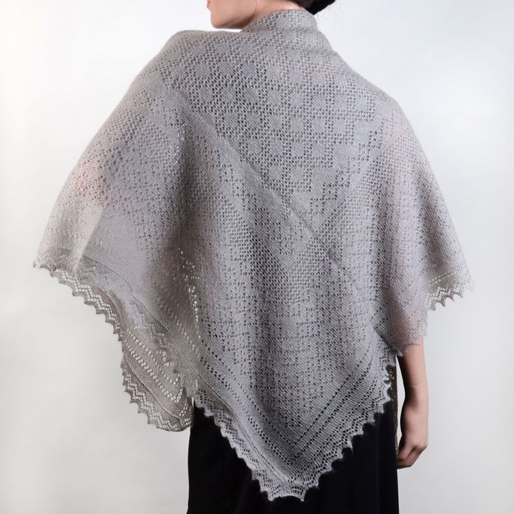 Warm Grey Russian Orenburg Shawl