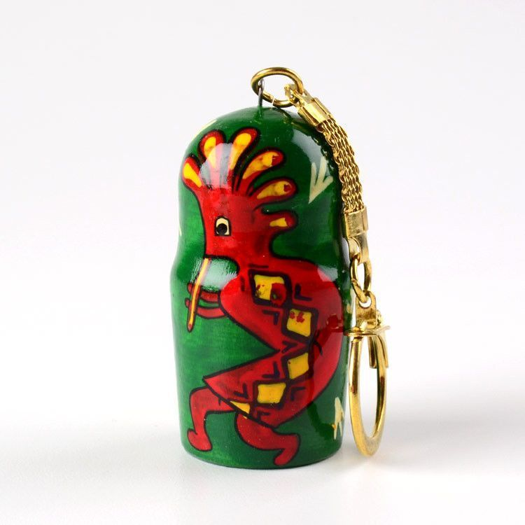 Red & Green Kokopelli Key Chain