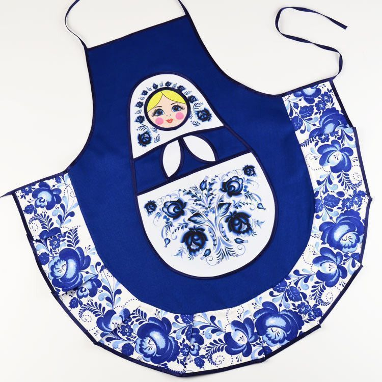 Blue Gzhel Doll Apron