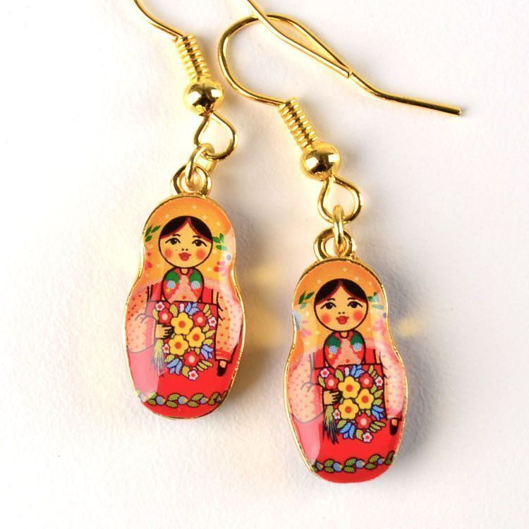 Metallic Matryoshka Doll Earrings