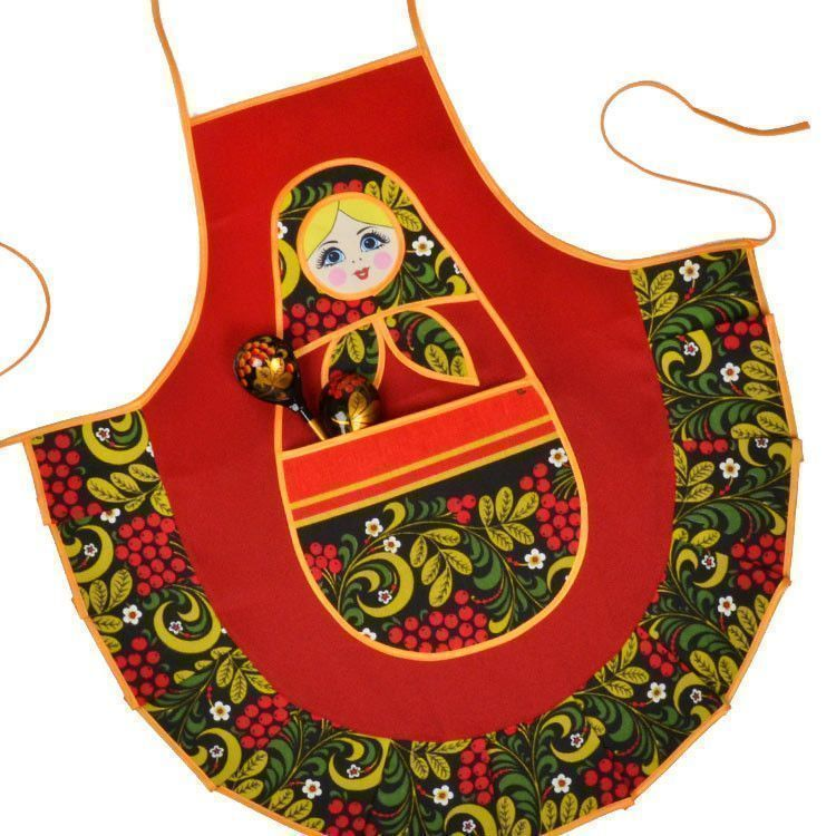 Cute Khokhloma Doll Kitchen Apron