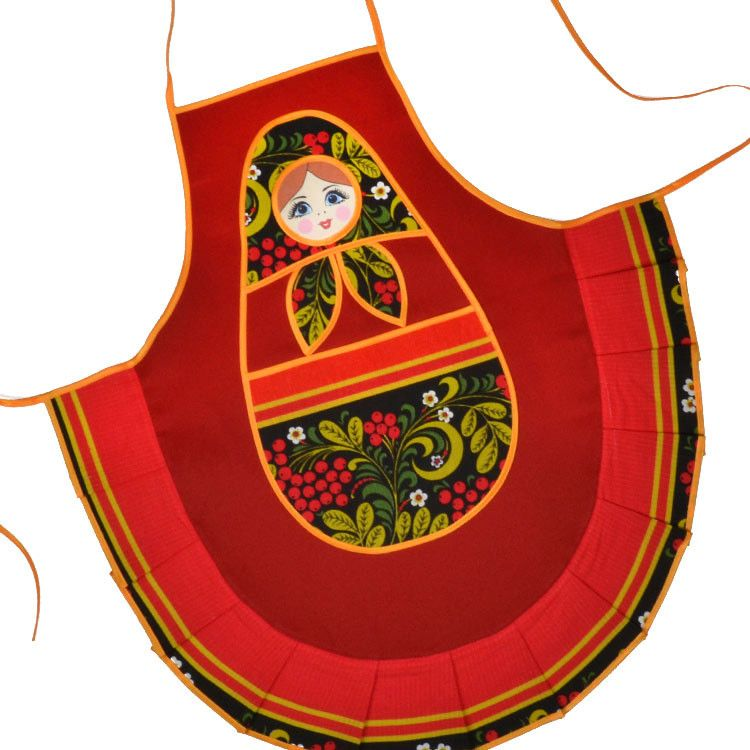 Cute Khokhloma Kitchen Apron