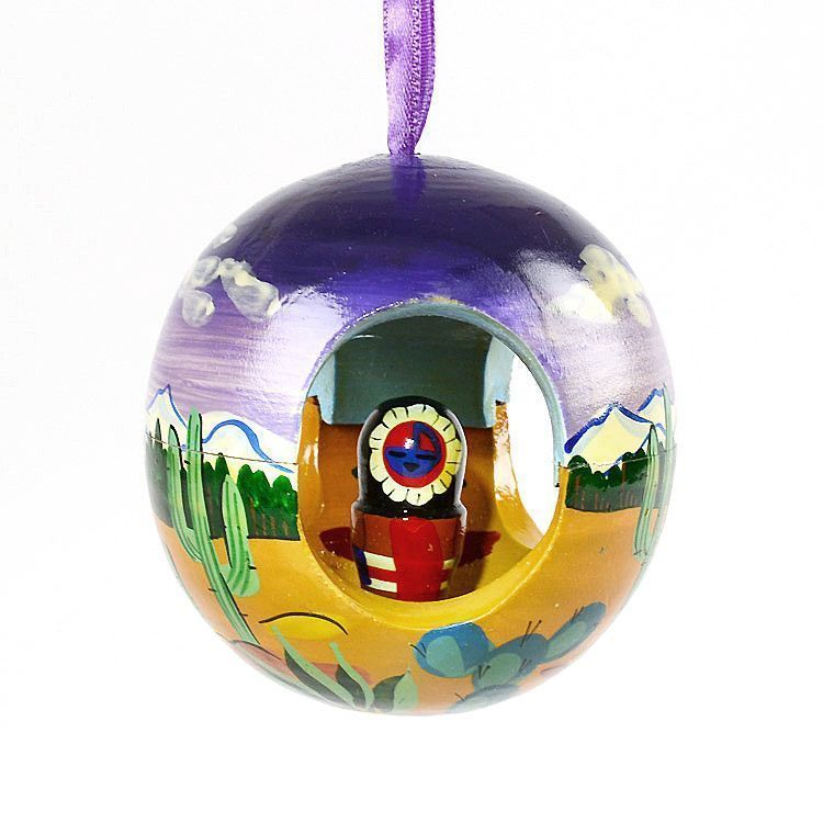 Kachina in the Desert Wooden Ball Ornament