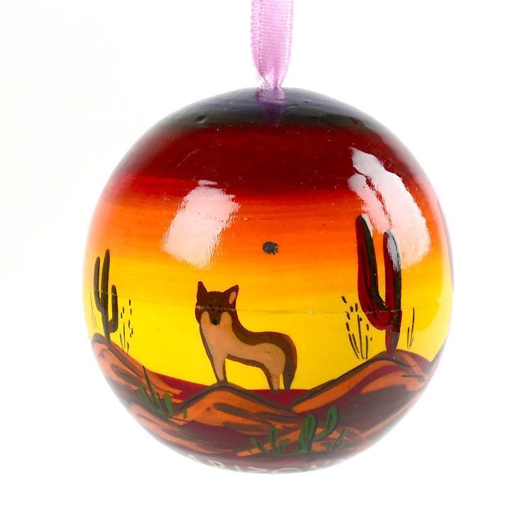 Desert Coyote Wooden Ornament Ball