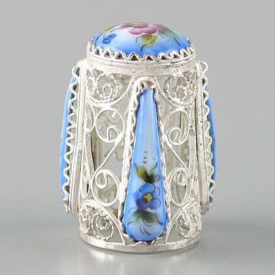 Russian Filigree Blue Enamel Finift Thimble