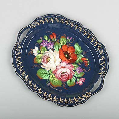Blue Zhostovo Tray from Russia