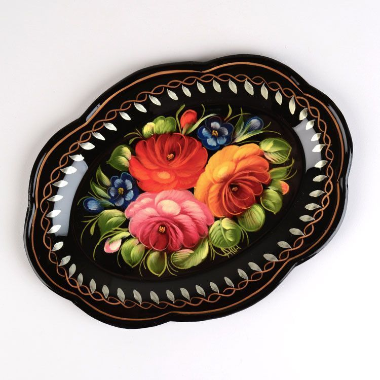 Small Black Zhostovo Tray