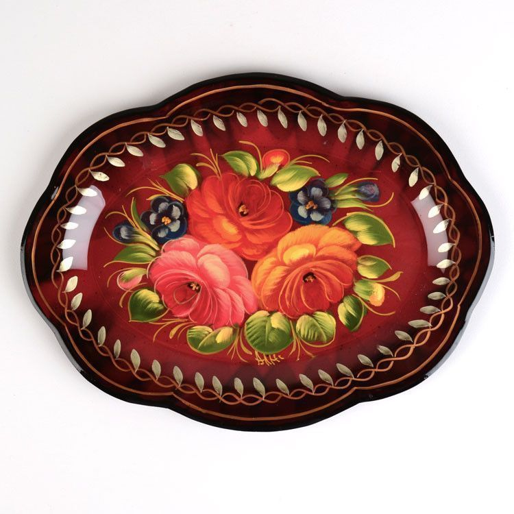Small Burgundy Zhostovo Tray