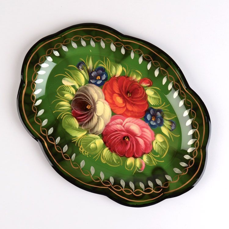 Small Green Oval Tray