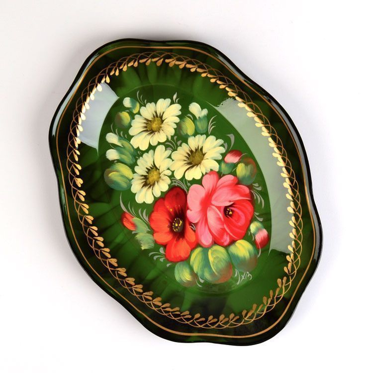 Forest Green Zhostovo Tray