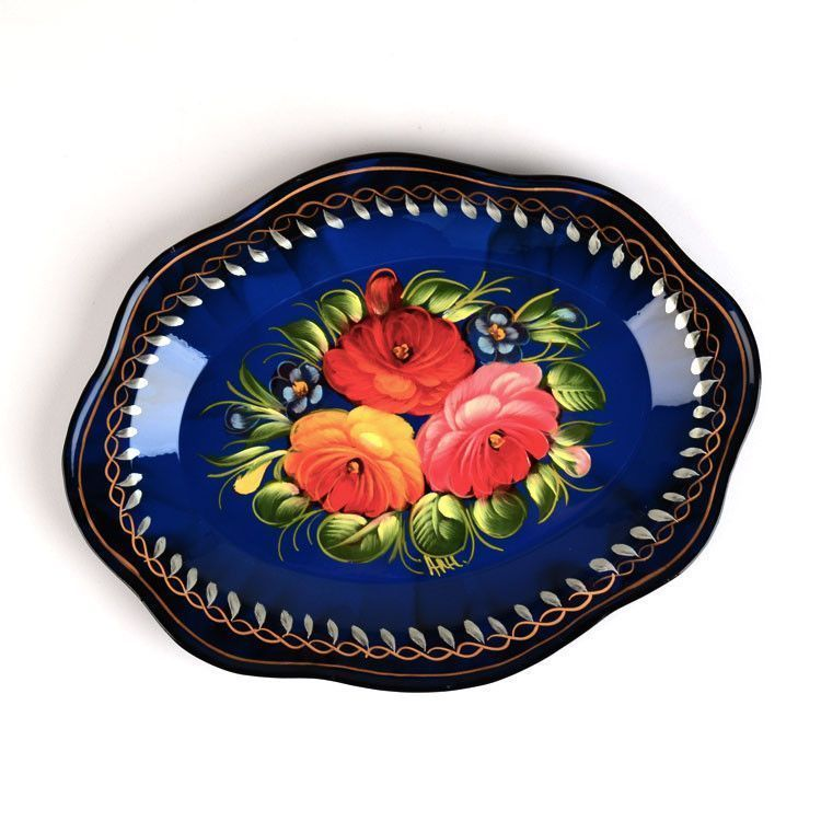 Blue Floral Russian Tray