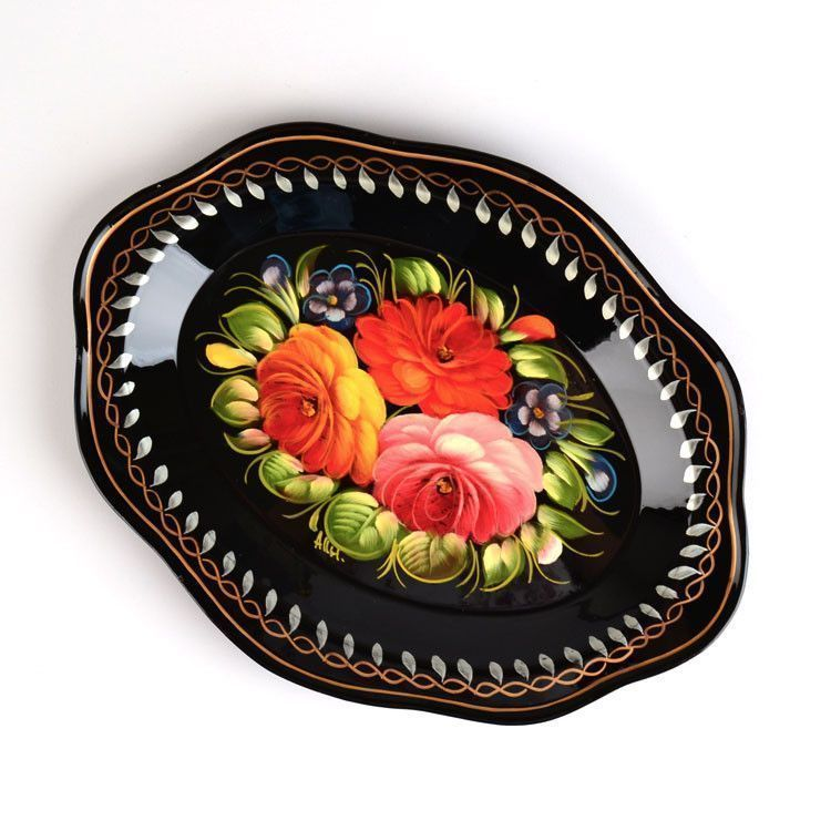 Medium Black Zhostovo Tray