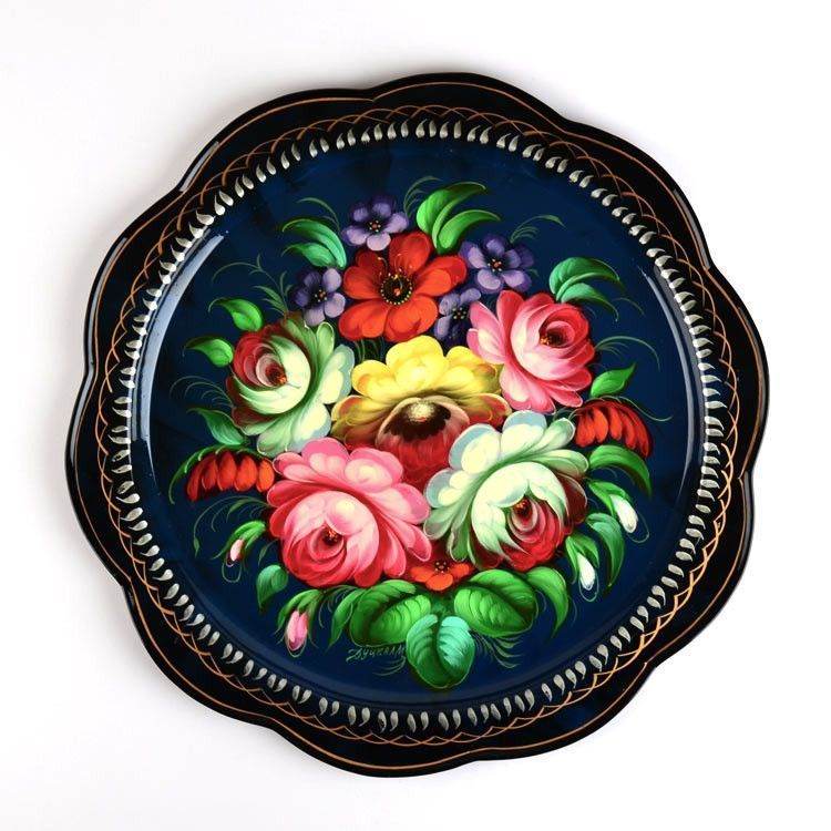 Floral Blue Russian Tray
