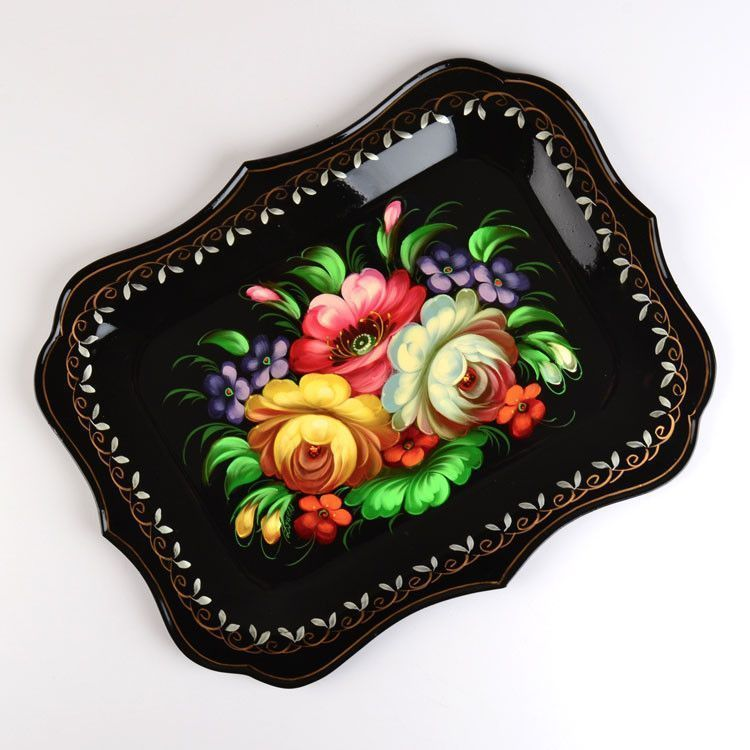 Russian Folk Art Platter Tray