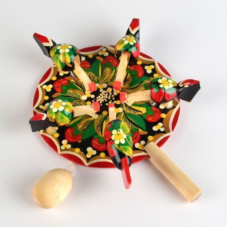 Pecking Hens Folk Art Toy