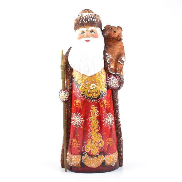 "9 1/2"" Tall Wooden Santa with Bear Cub"