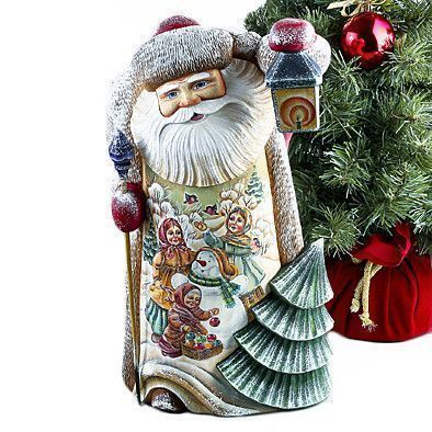 Charming Russian Wooden Santa With Lantern