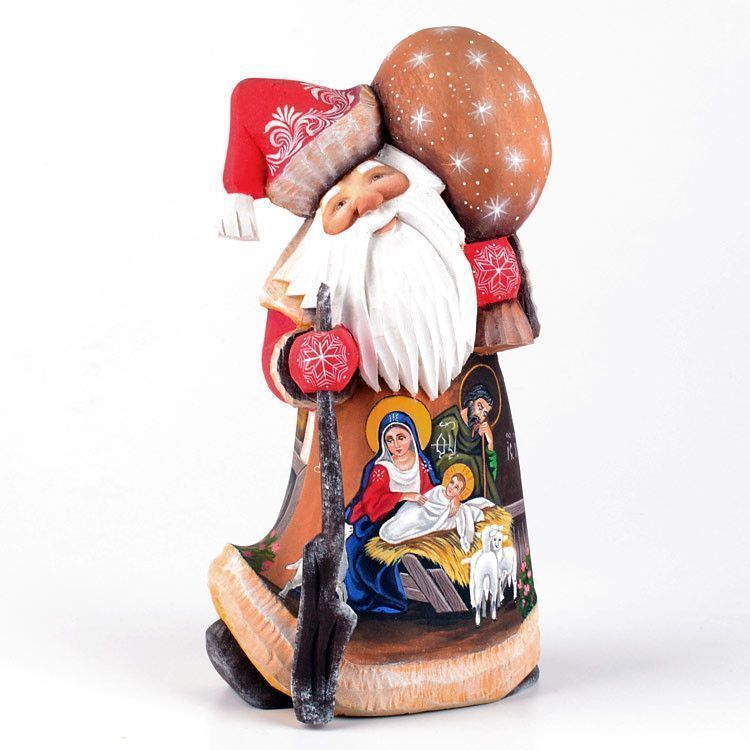 Hand Carved Nativity Scene Santa