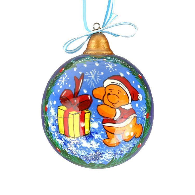Pooh Christmas Wood Ball Ornament