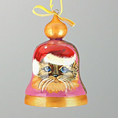 Christmas Kitty Cat Bell Ornament