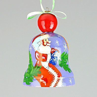 Santa Christmas Tree Bell Ornament